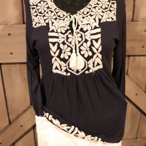 Lucky Brand Navy Blue and Cream Blouse
